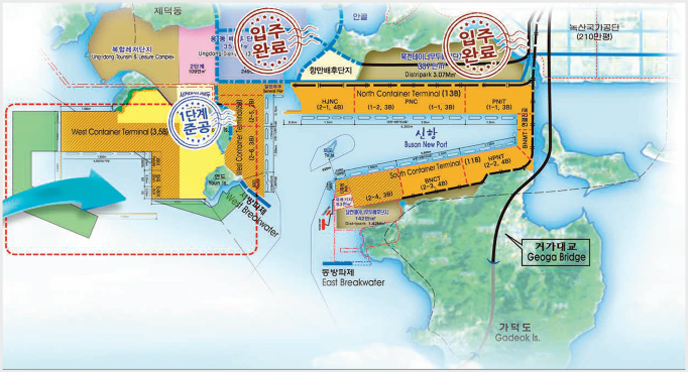 Investment Area: Ungdong Port Hinterland(3.57㎢, 2011-2015), The Northern Port Hinterland(1,2㎢, 2005-2010), The Southern Port Hinterland(1.42㎢, 2015~)