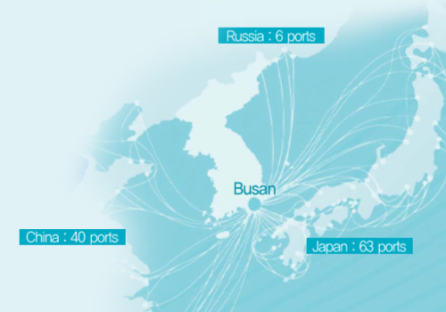 BUSAN  to Russia: 6port/CHina : 40port/Japan 63port